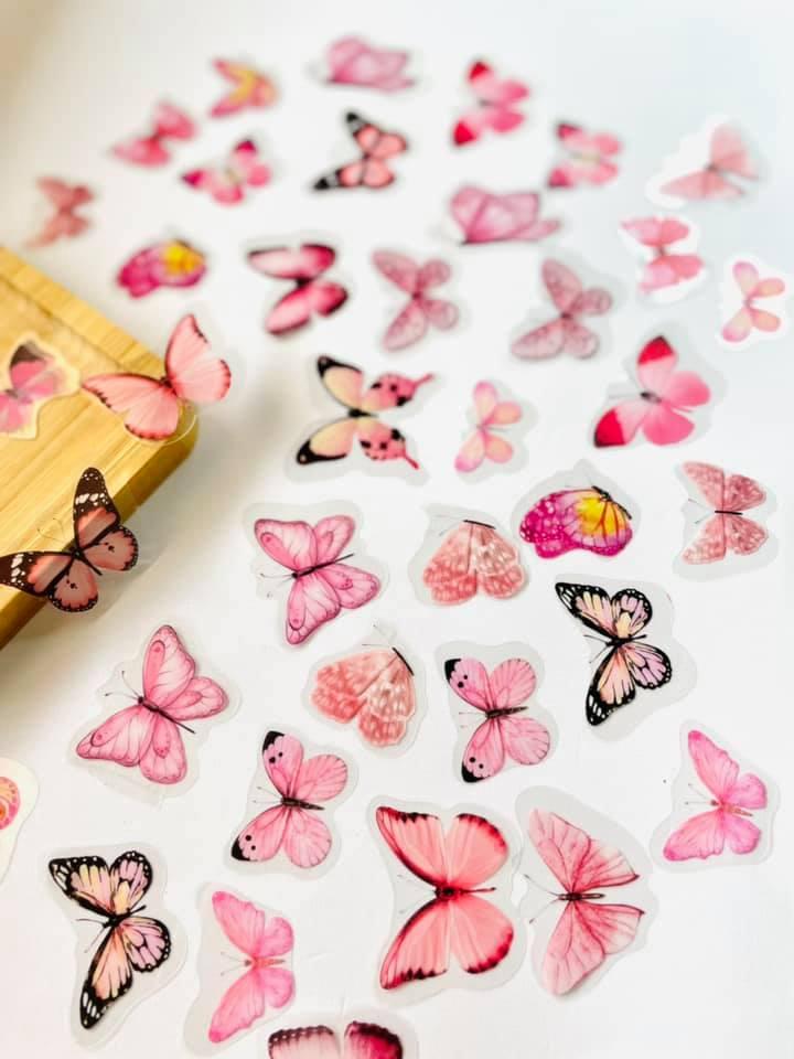 Adesivo Borboleta transparente rosa