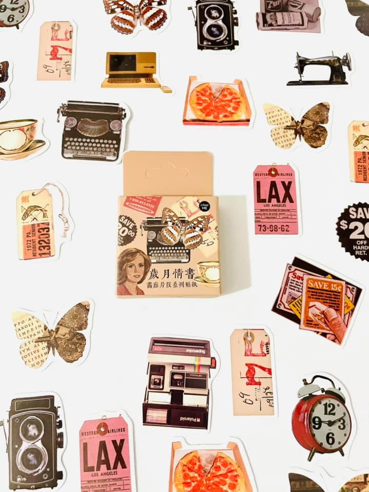 Adesivo caixinha vintage anos 60