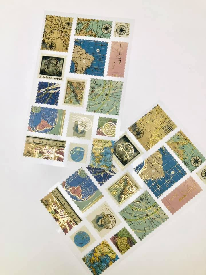 Adesivo de Mapa Mundi com Foi Dourado