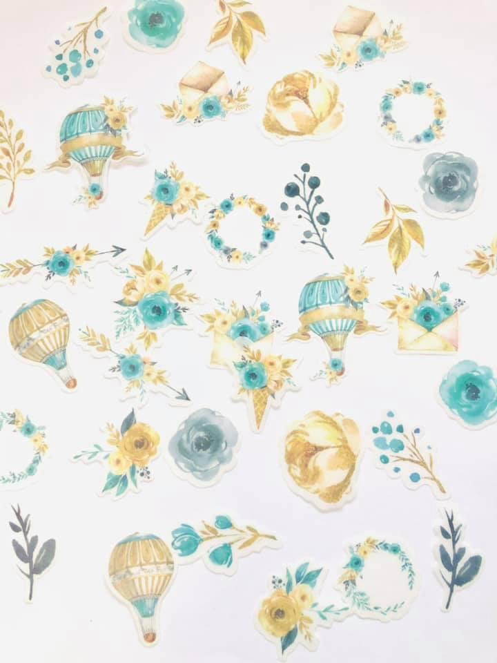 Adesivo Flor e Balão turquesa