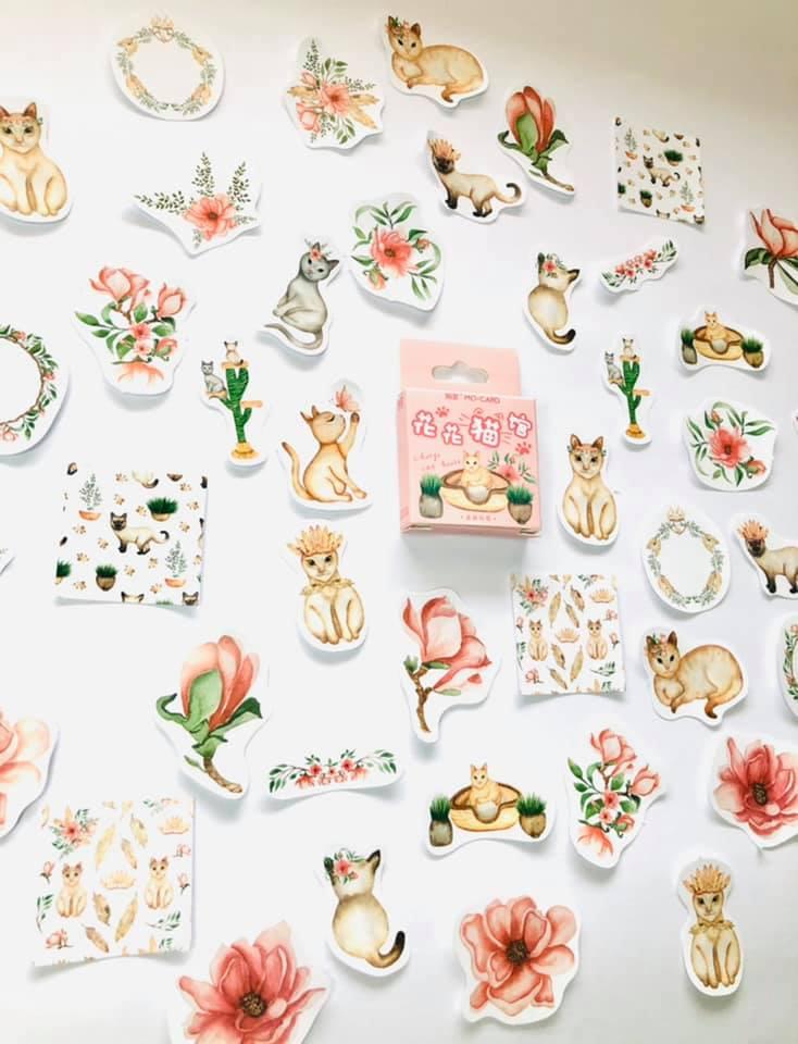 Adesivo gatinhos Flores
