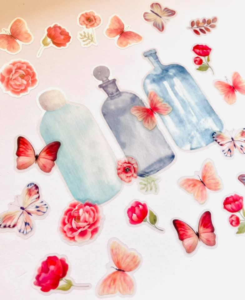 Adesivo Mason Jar Flor e Borboletas Rosa