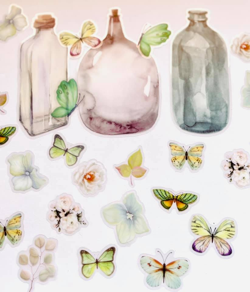Adesivo Mason Jar Flor e Borboletas Verde