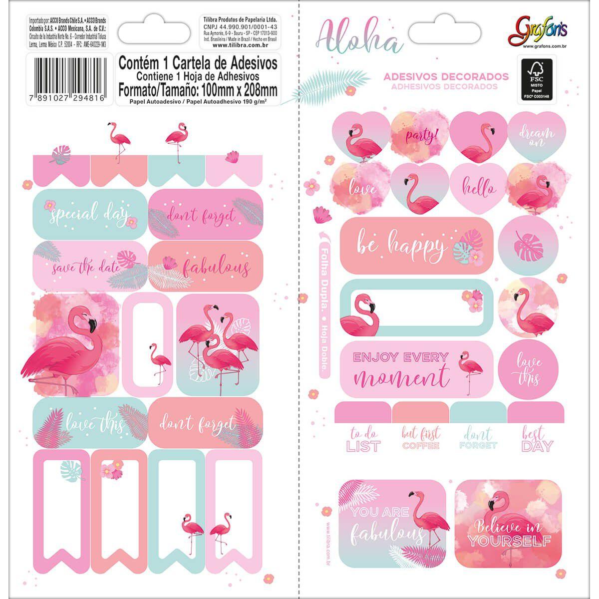 Adesivos Decorados Aloha Flamingo