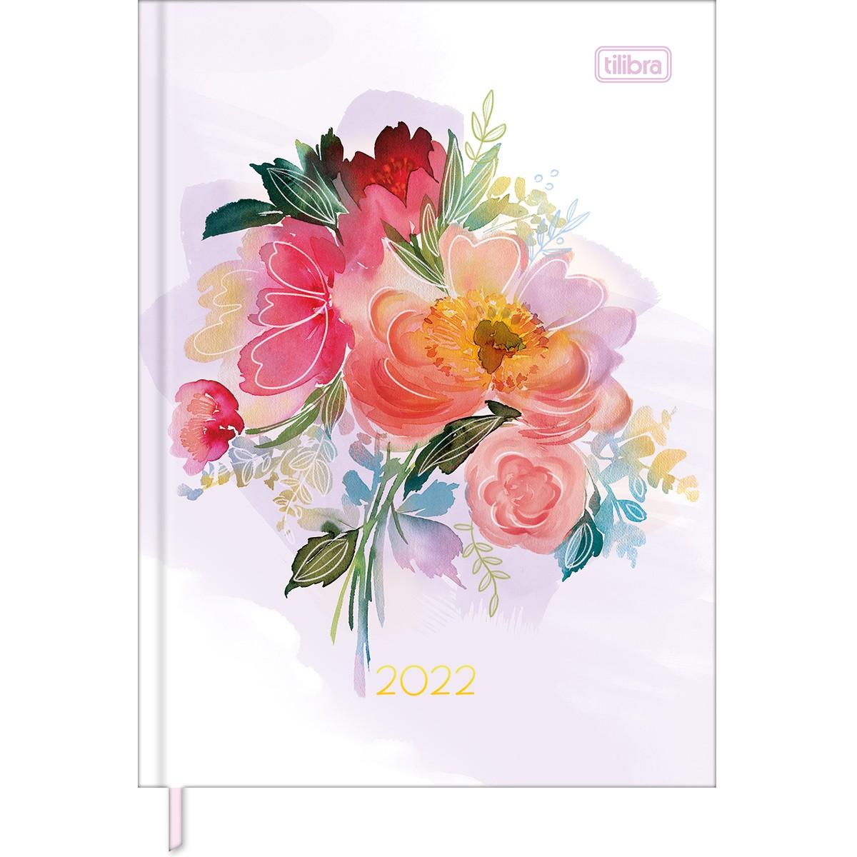 Agenda Costurada Diária 12,3 x 16,6 cm Feminine 2022 - Flores