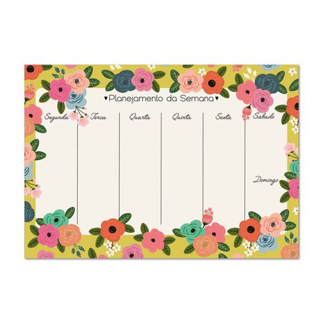 Bloco planner Semanal A4 Floral dia