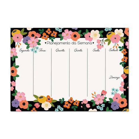 Bloco planner Semanal A4 Floral Noite