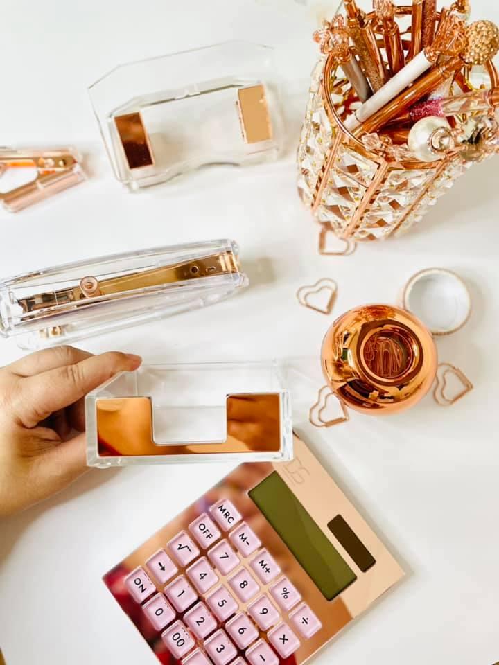 Calculadora Rose Gold Acrílico Transparente