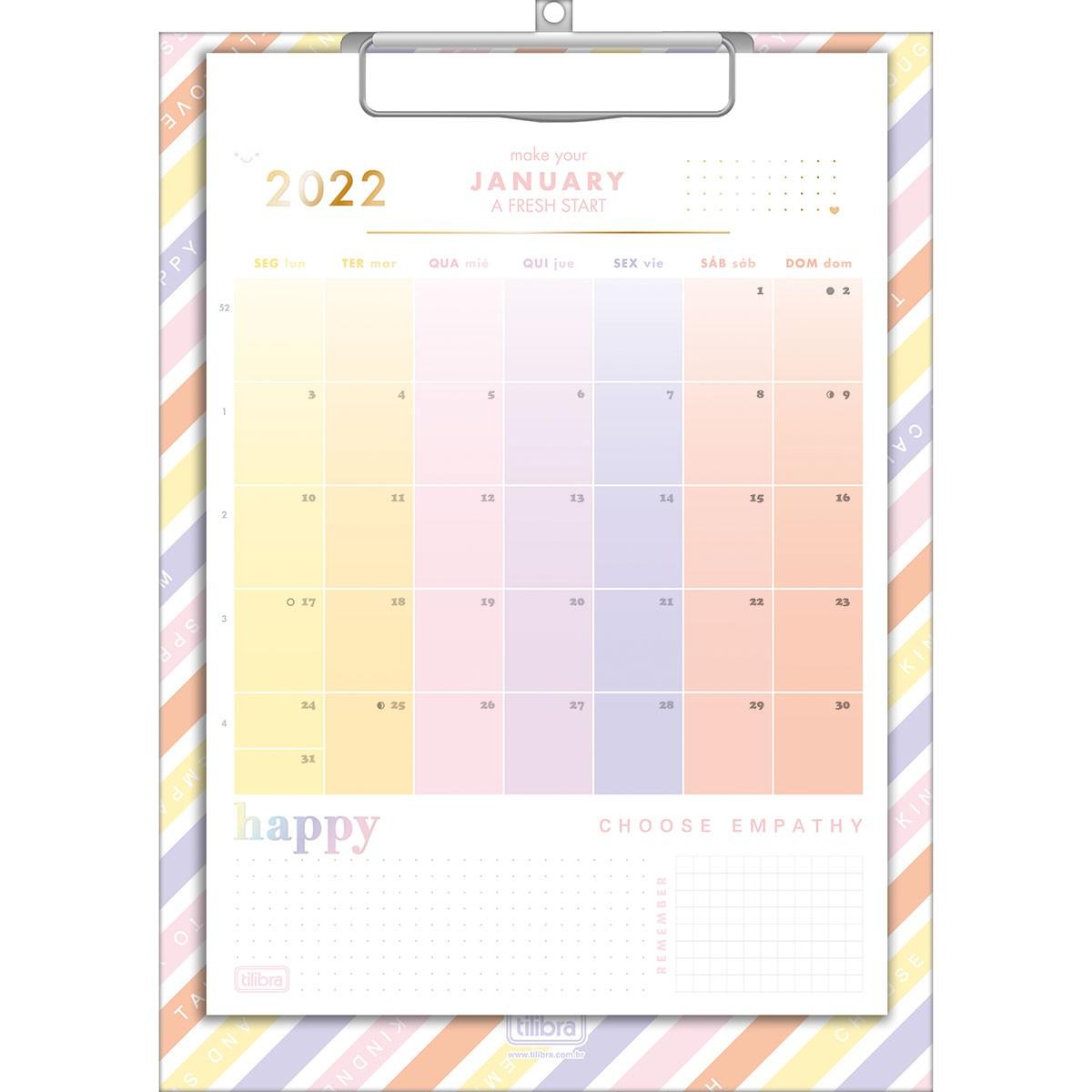 Calendário Planner Prancheta A4 Happy 2022