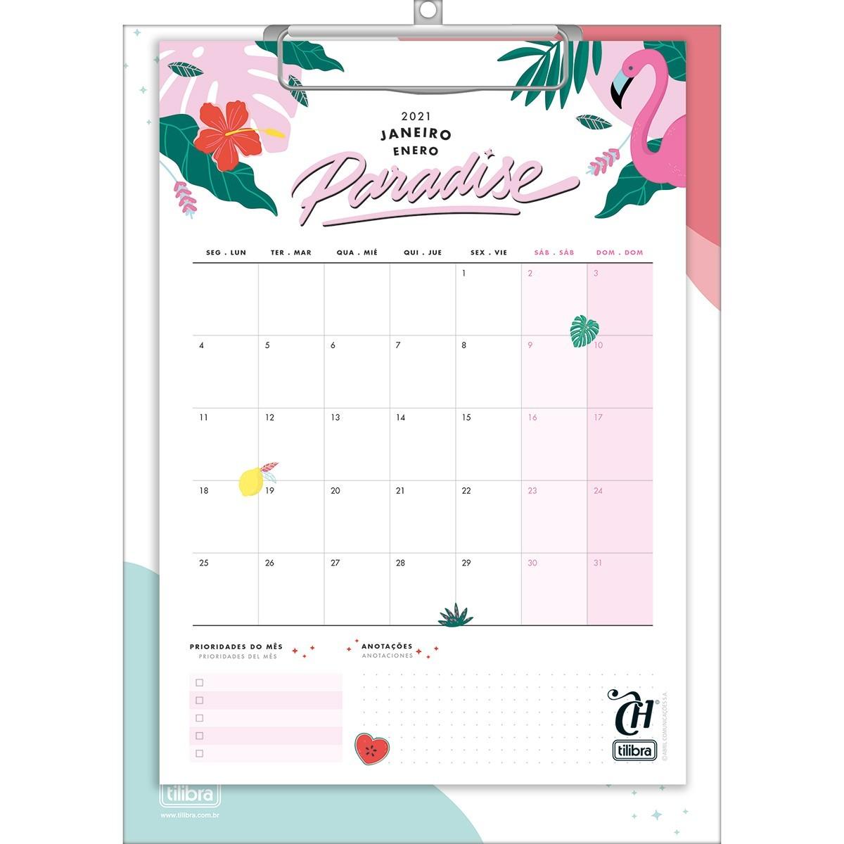 Calendário Planner Prancheta Capricho 2021