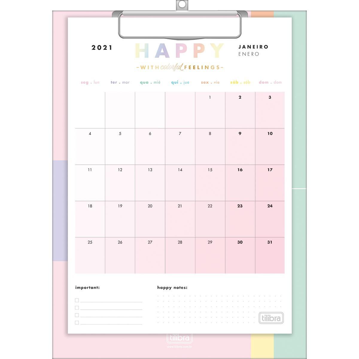 Calendário Planner Prancheta Happy 2021