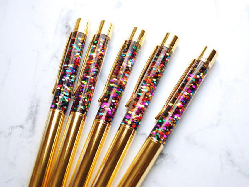 Caneta Luxo Glitter Dourada