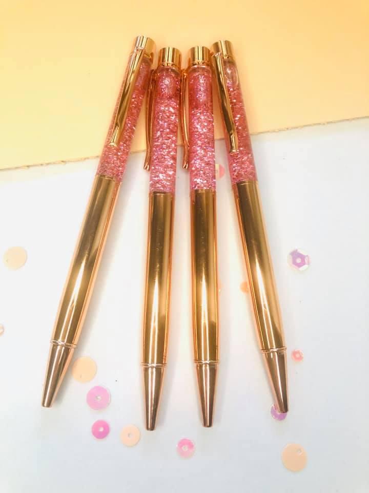Caneta Luxo Glitter Rose Gold