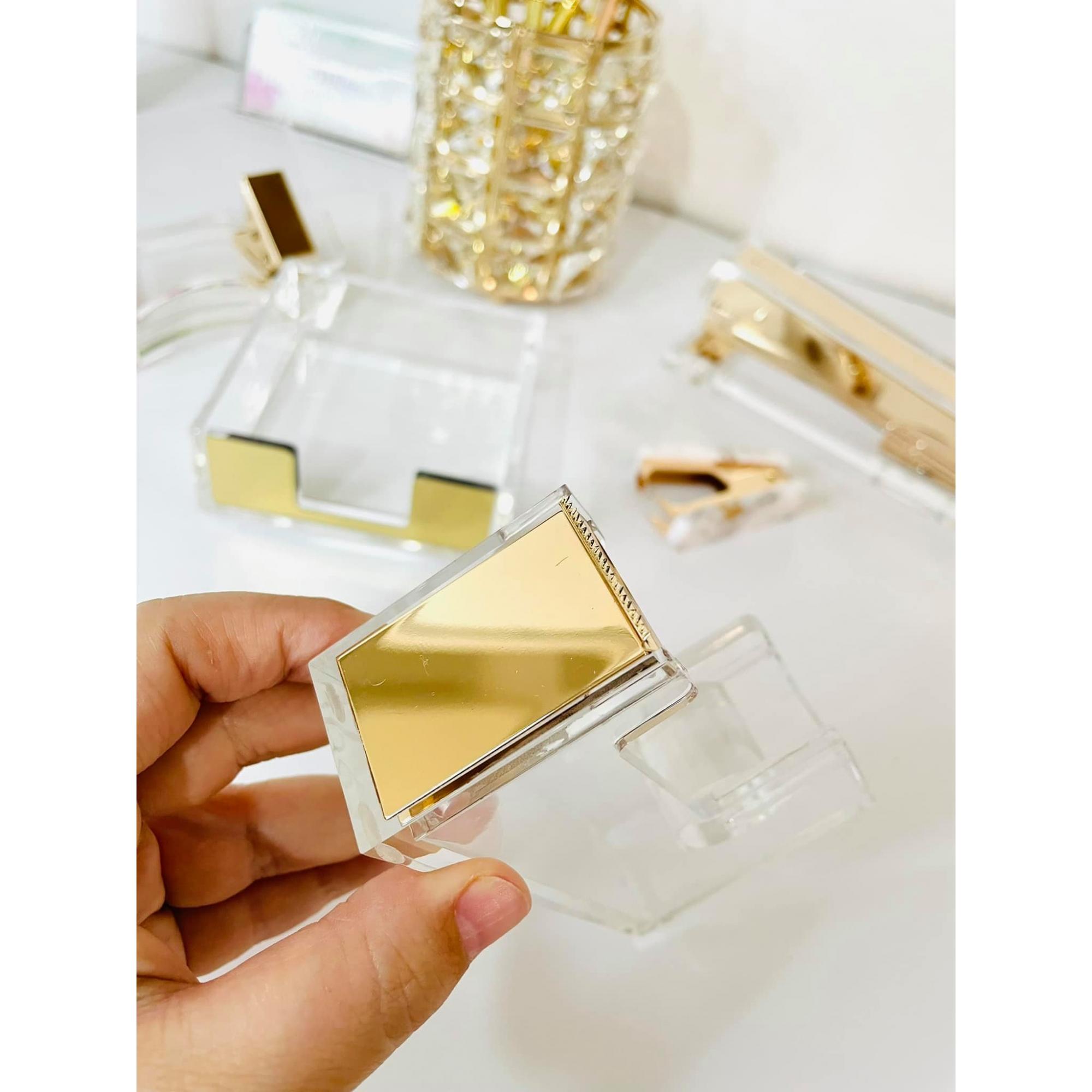 Dispenser Porta Durex Acrílico Dourado