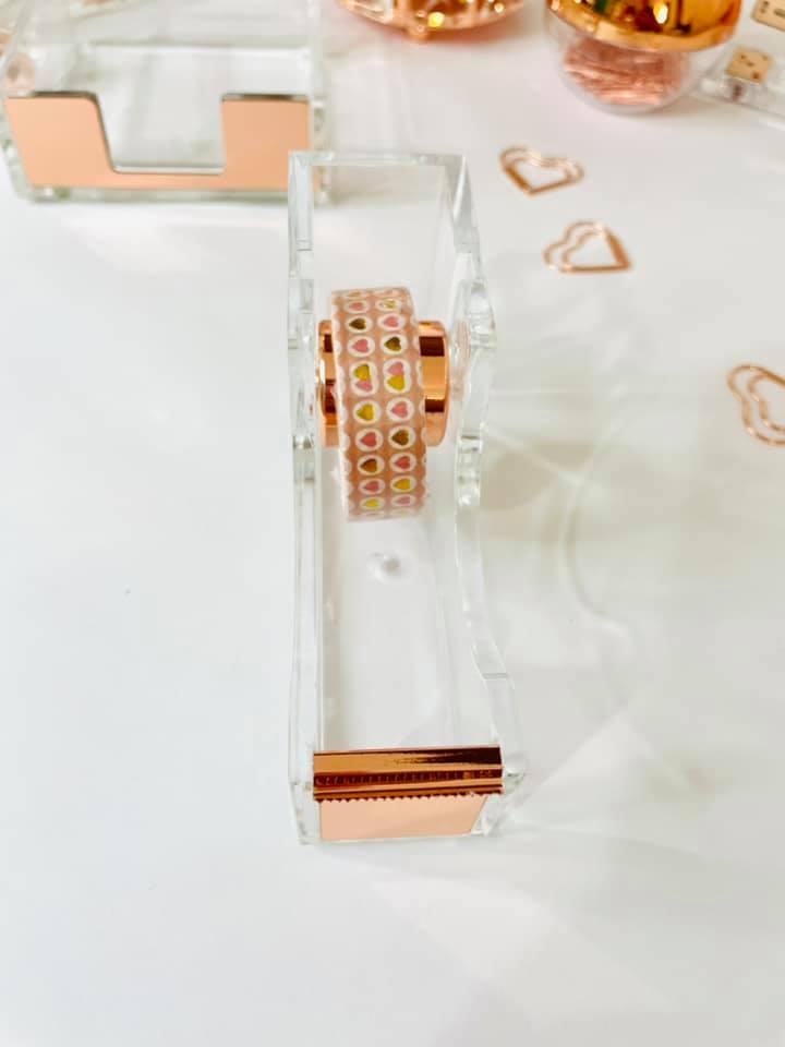 Dispenser porta durex Acrílico Rose Gold