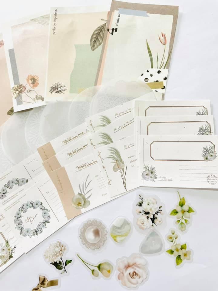 Kit craft com folhas vintage minimalista