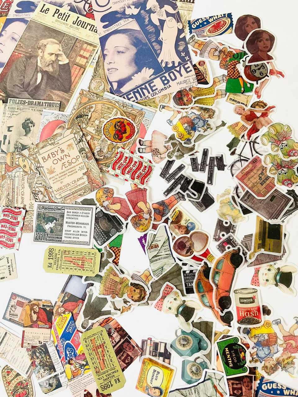 Kit craft imagens vintage 200 unidades