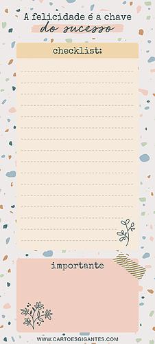 Notepad Cheklist Terrazzo Magnético