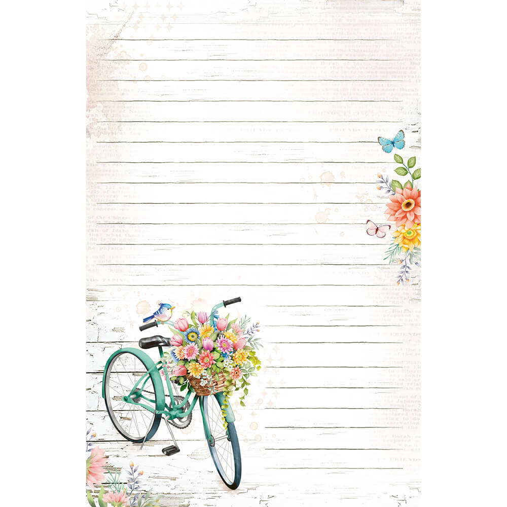 Papel de carta bicicleta encanto 5 unidades