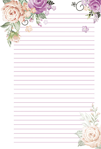 Papel de carta Flores delicadas 10 unidades