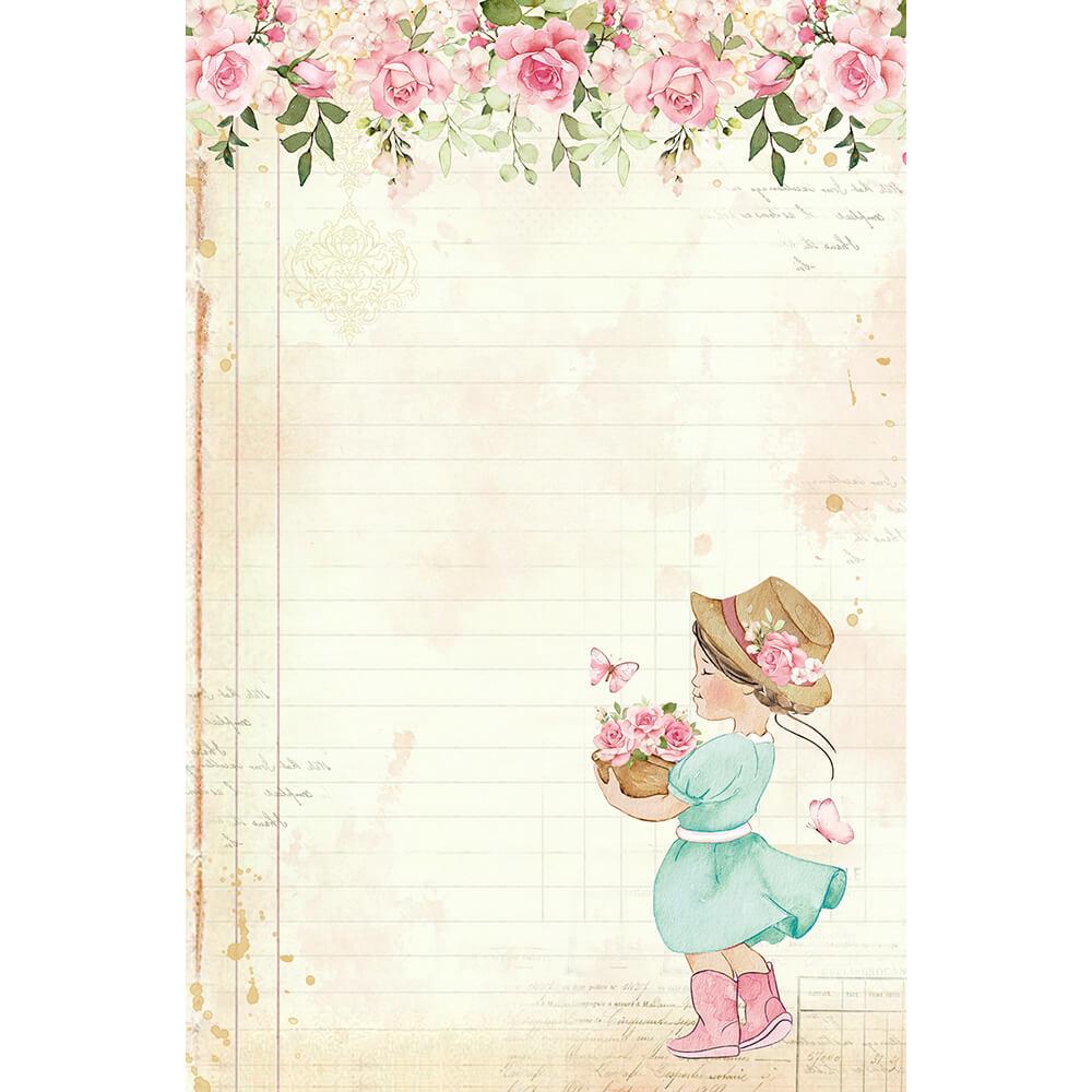 Papel de carta Menina Monde Rose 5 unidades