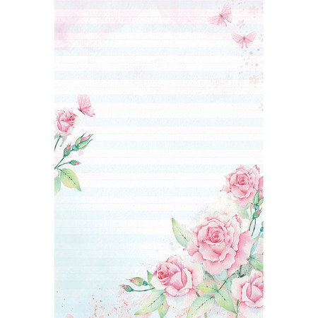 Papel de carta rosas 5 unidades