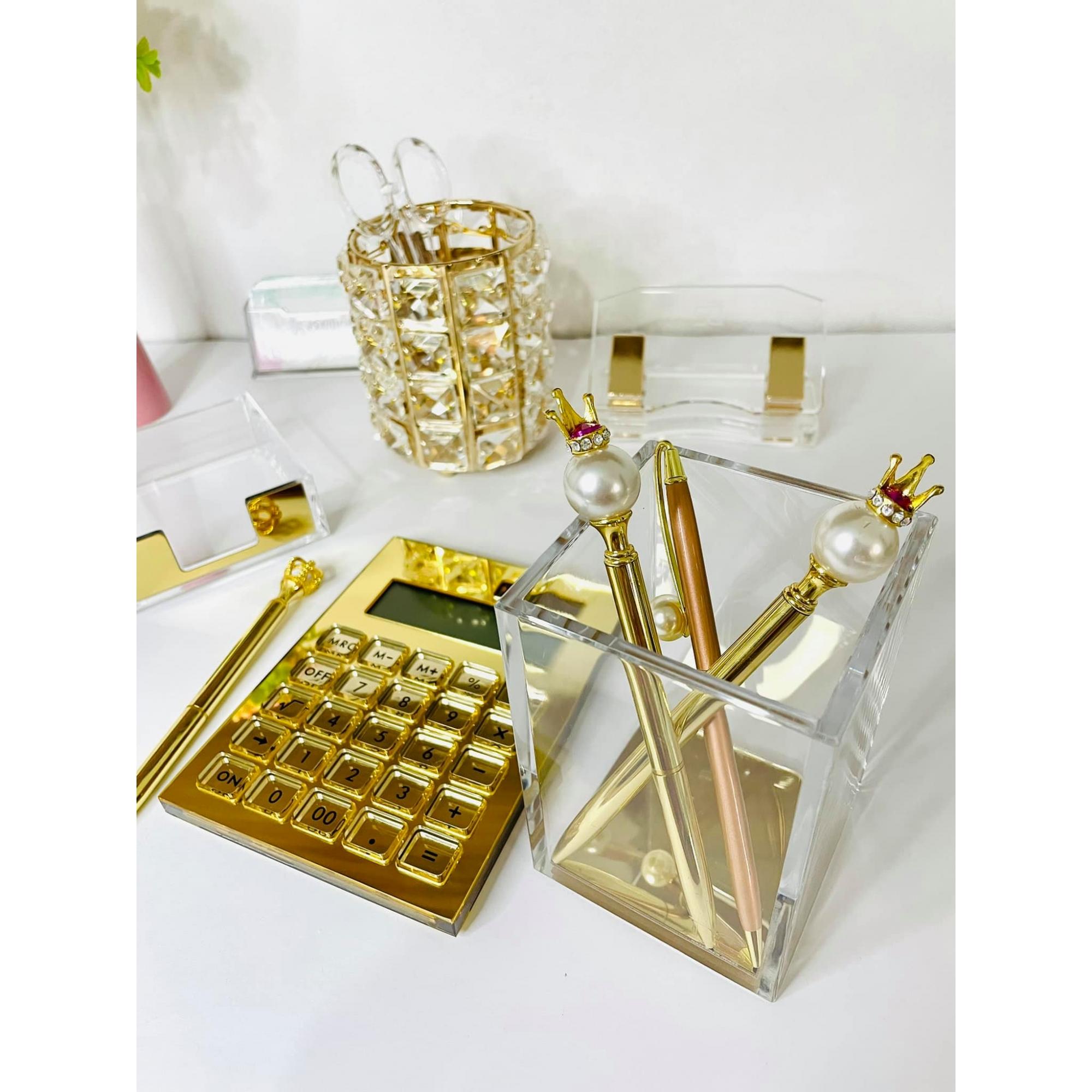 Porta Canetas Cristal Dourado