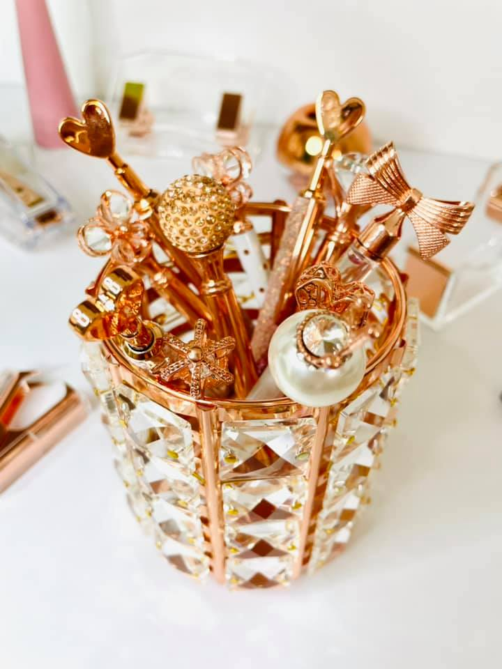 Porta Canetas Cristal Rose Gold