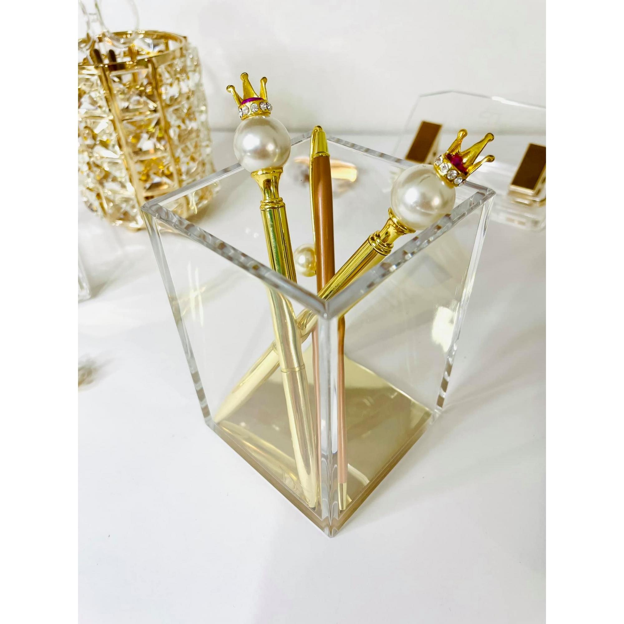 Porta Canetas de Acrílico Dourado