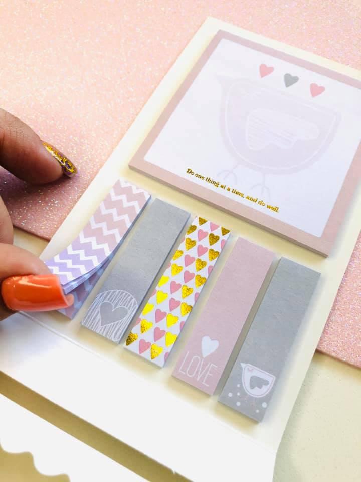Sticky Notes coração com foil