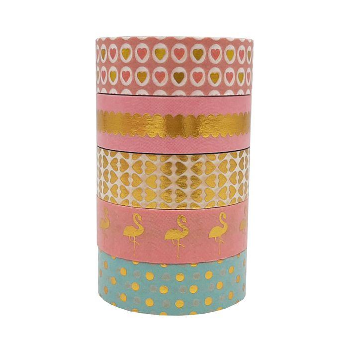 Washi Tape Foil Corações Flamingo 5 un