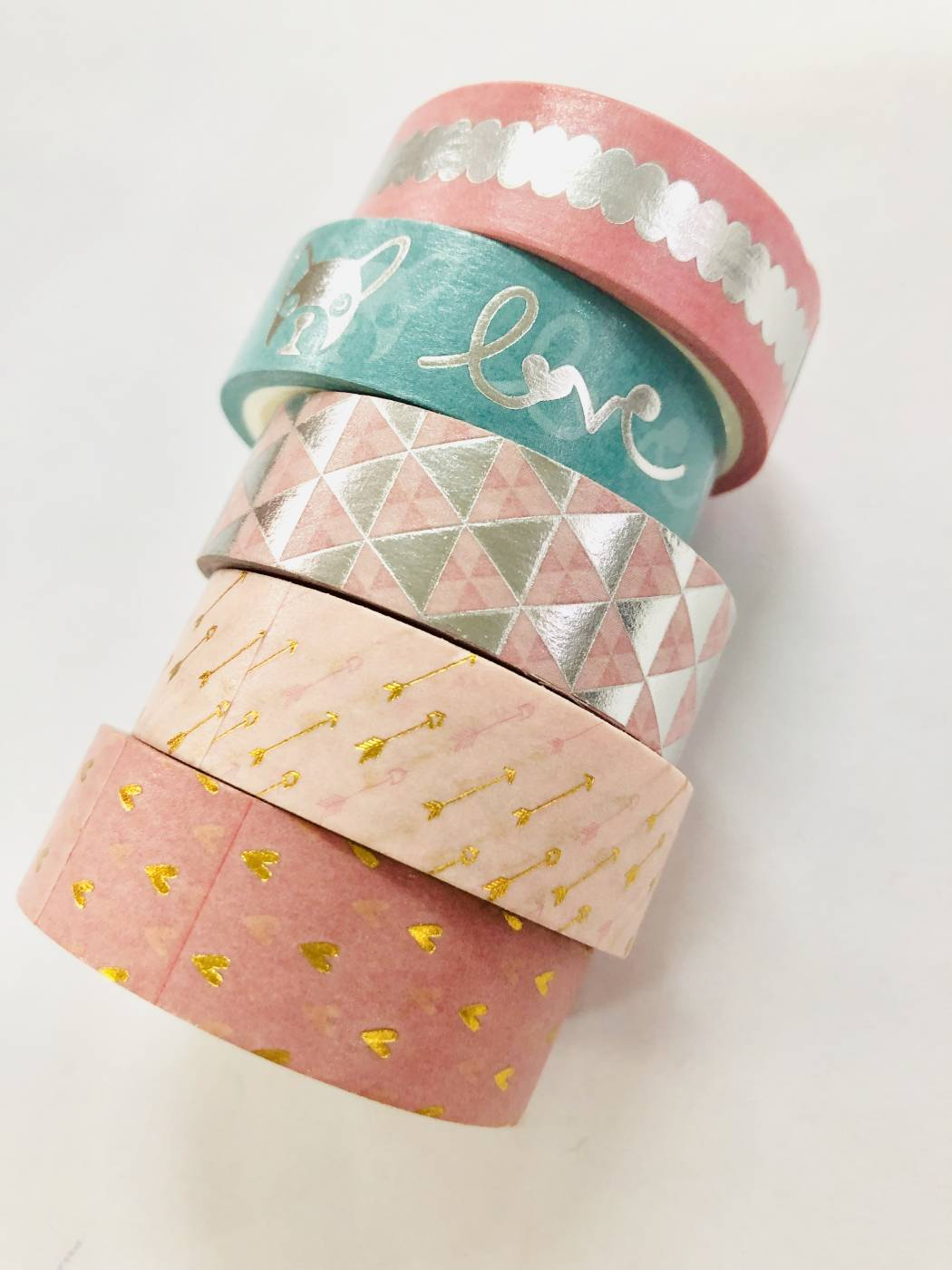 Washi Tape Foil Rosa Buldogue 5 un