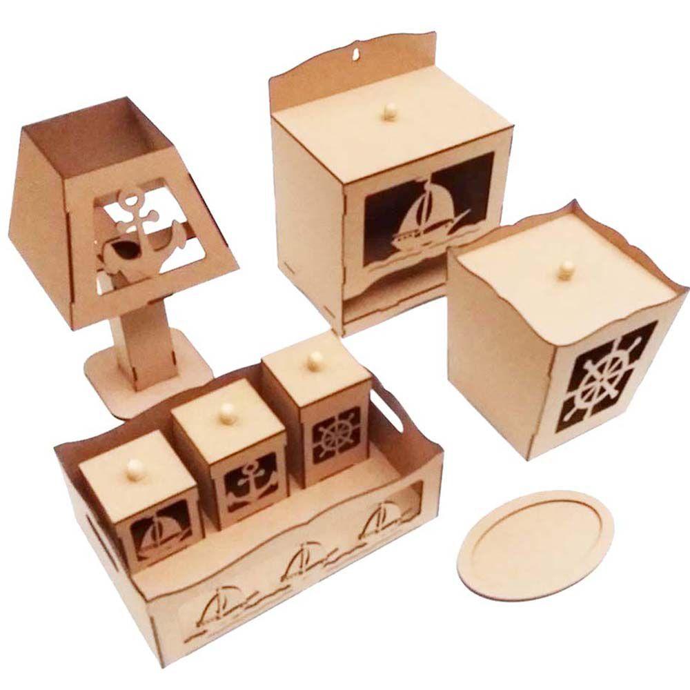 3 Kit bebê marinheiro 8 peça mdf Kit infantil quarto bebe