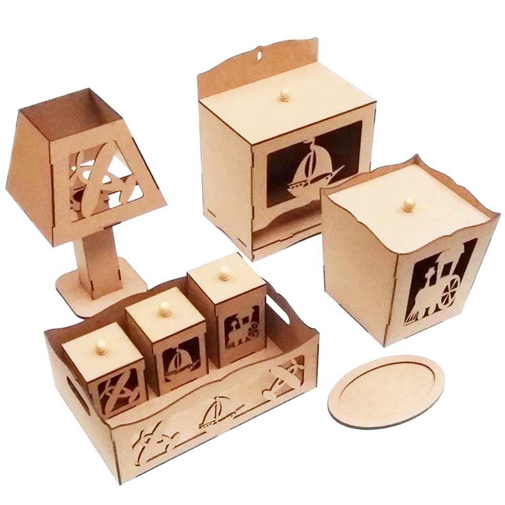 3 Kit bebê mdf meios de transporte 8 peças kit higiene