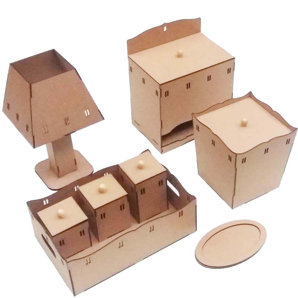 3 Kit bebê mdf Passa fita 8 peças Kit higiene kit infantil