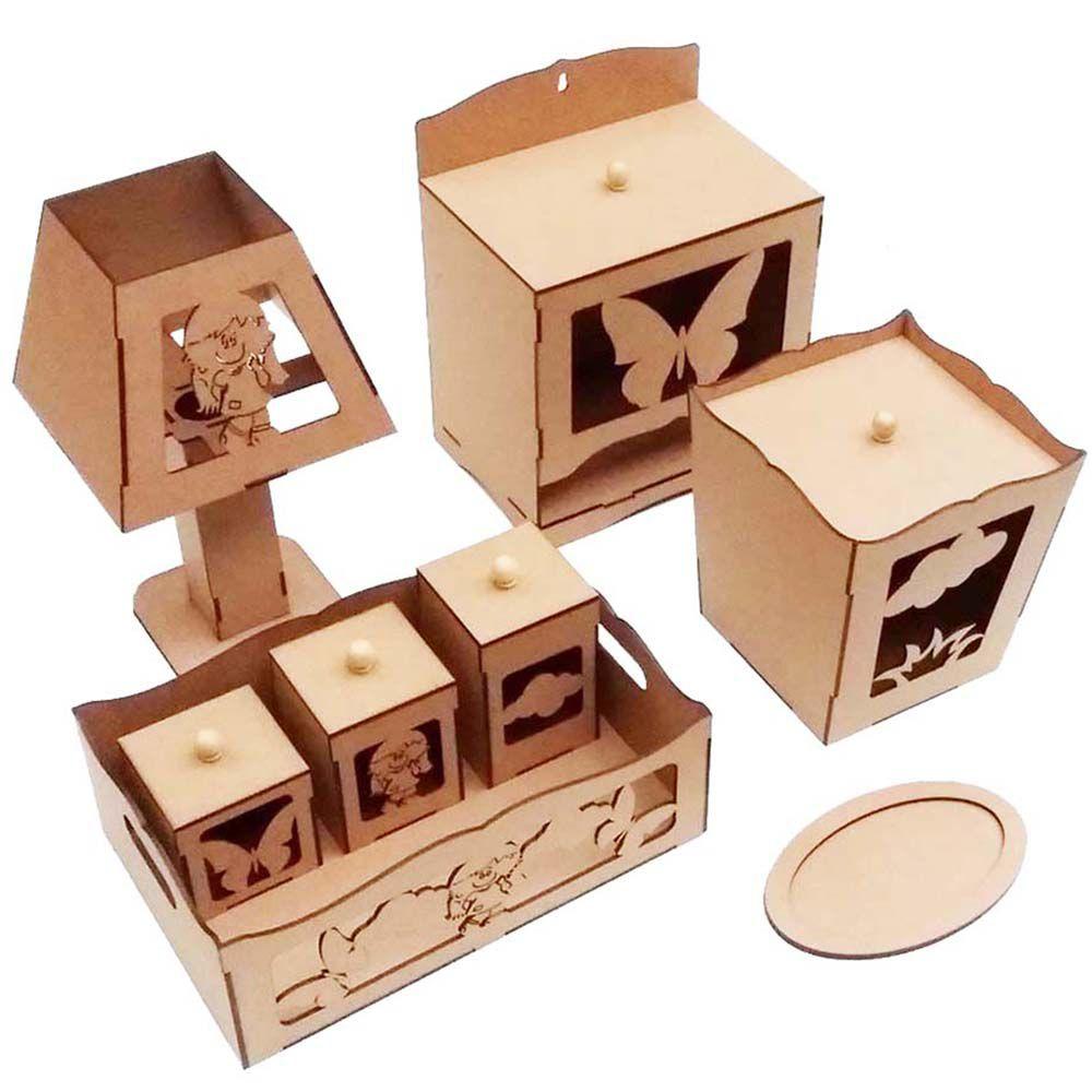 3 Kit bebê menina 8 peça mdf laser Kit higiene kit infantil