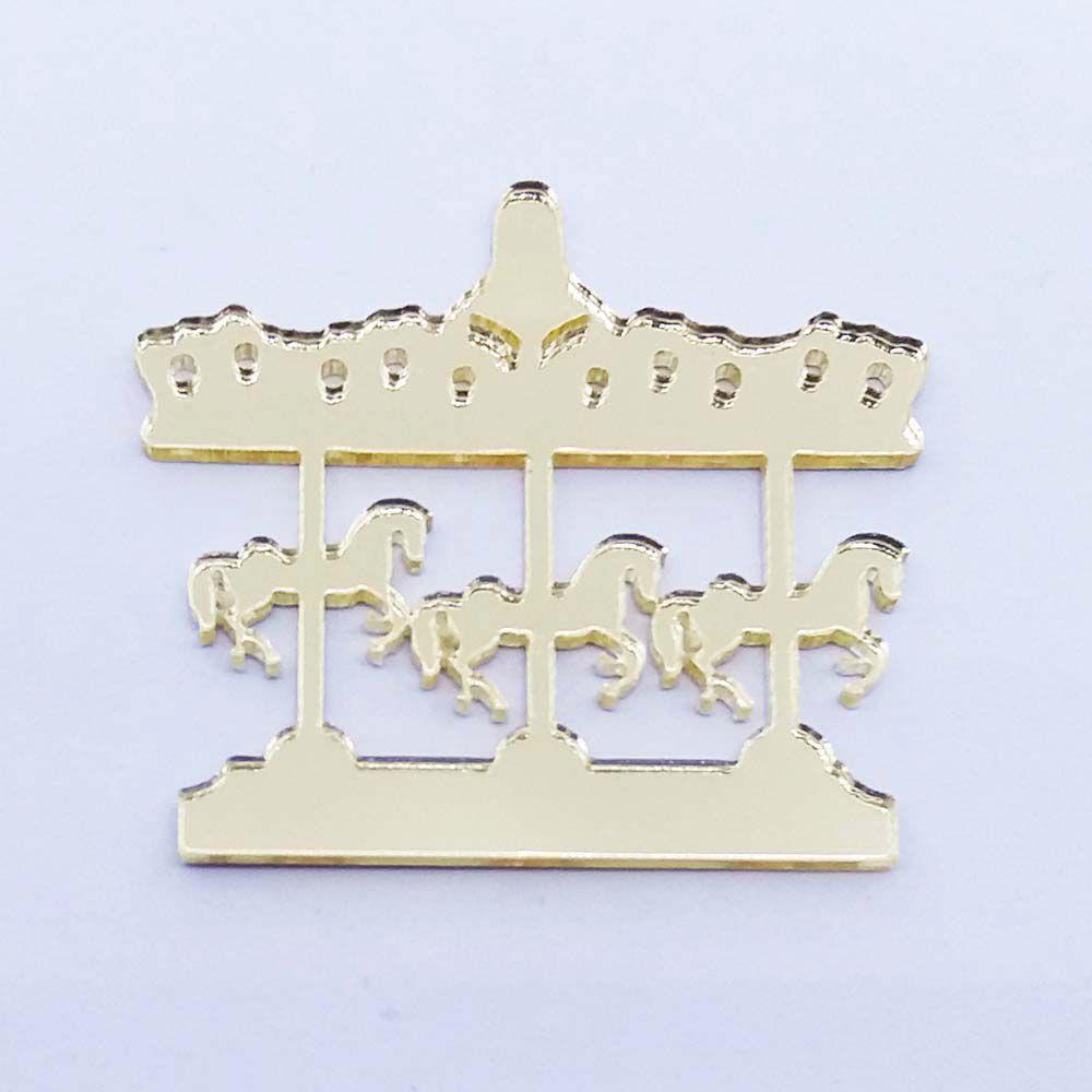 Kit 50 Aplique cavalinho carrossel Acrilico espelhado dourado ou prata AP009