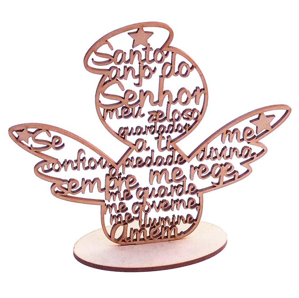 Anjo anjinho 15cm mdf oração santo anjo batizado comunhão