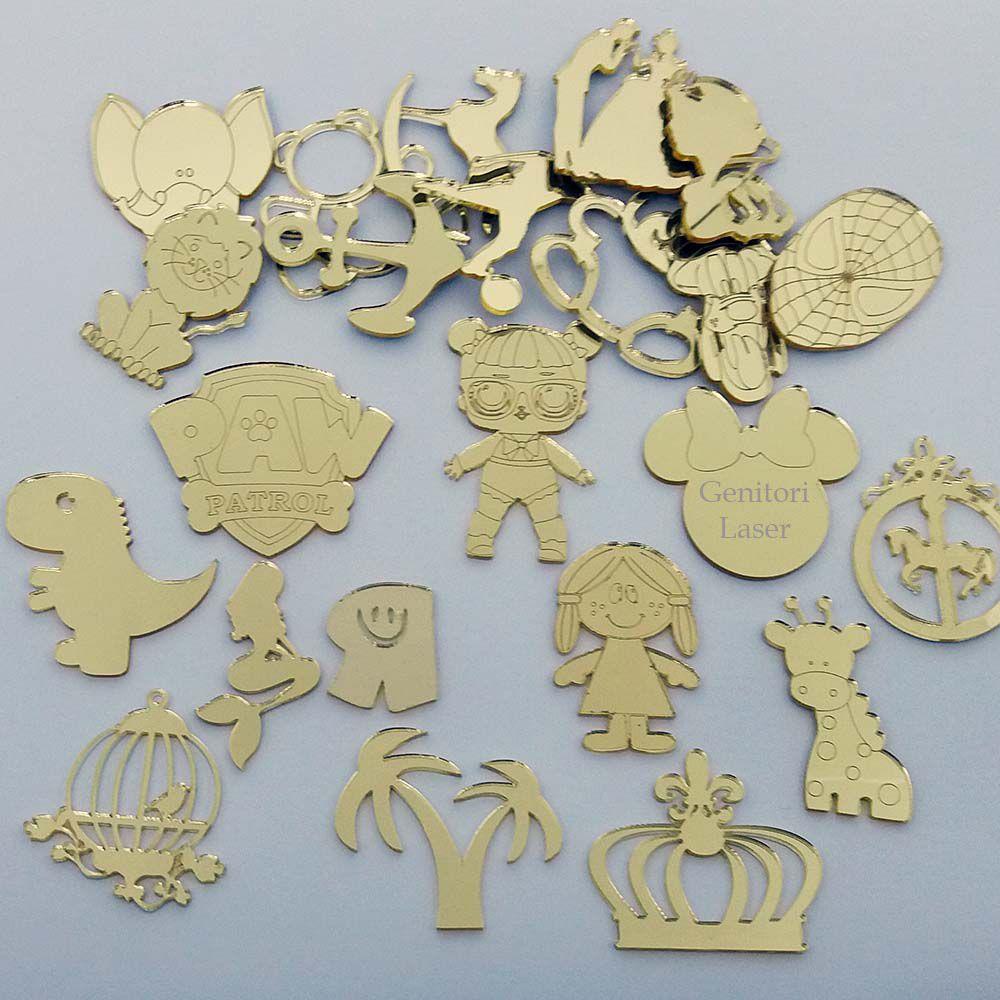 Kit 10 Aplique acrilico espelhado dourado ou prata 4cm diversos modelos a escolher AP00U