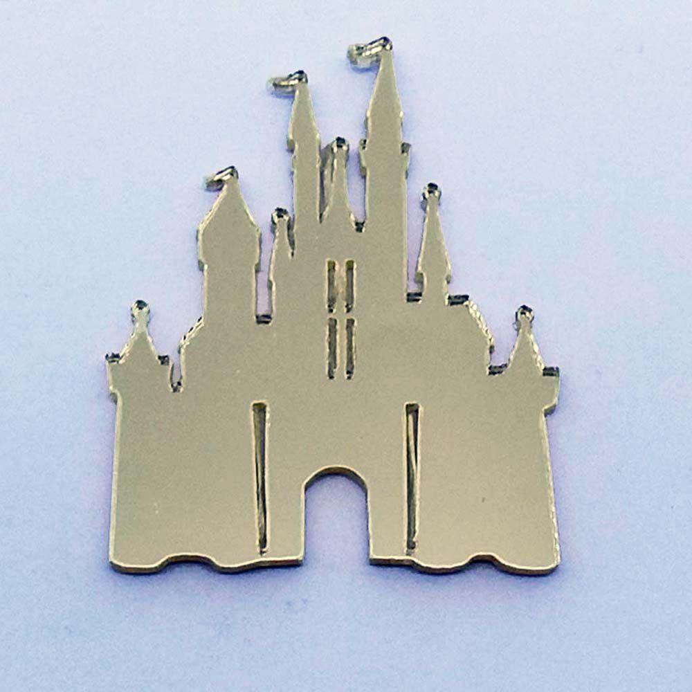 Kit 10 Aplique castelo disney princesas Acrilico espelhado AP176