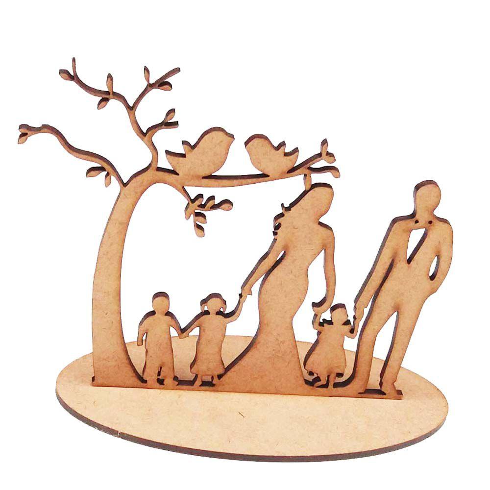 Árvore casal 3 crianças topo de bolo mdf casamento noivado