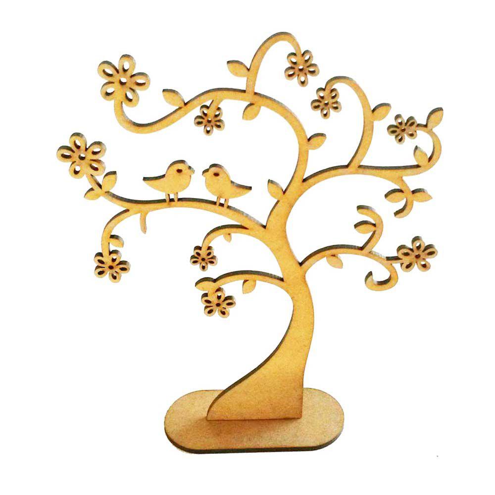 Árvore de mdf decorativa 20 cm mod 3 com flores e pássaros