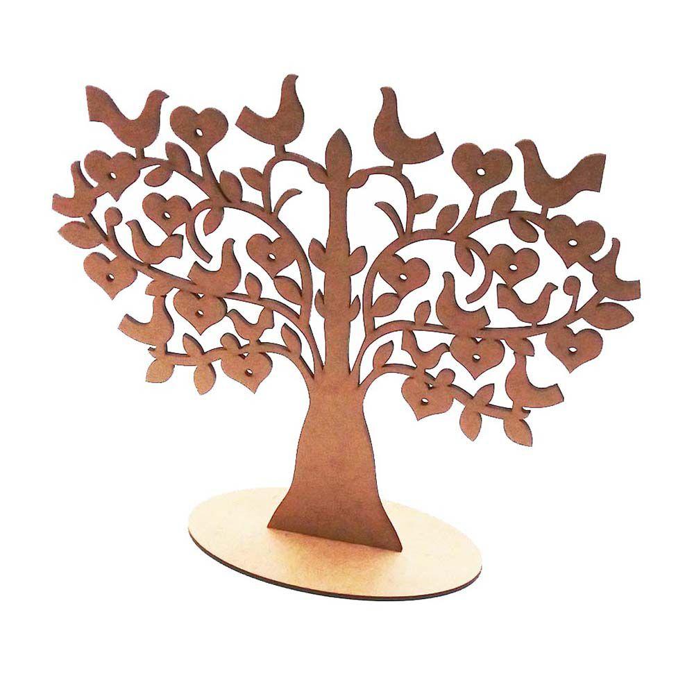 Arvore mdf decorativa porta brinco 25 cm pássaros coração