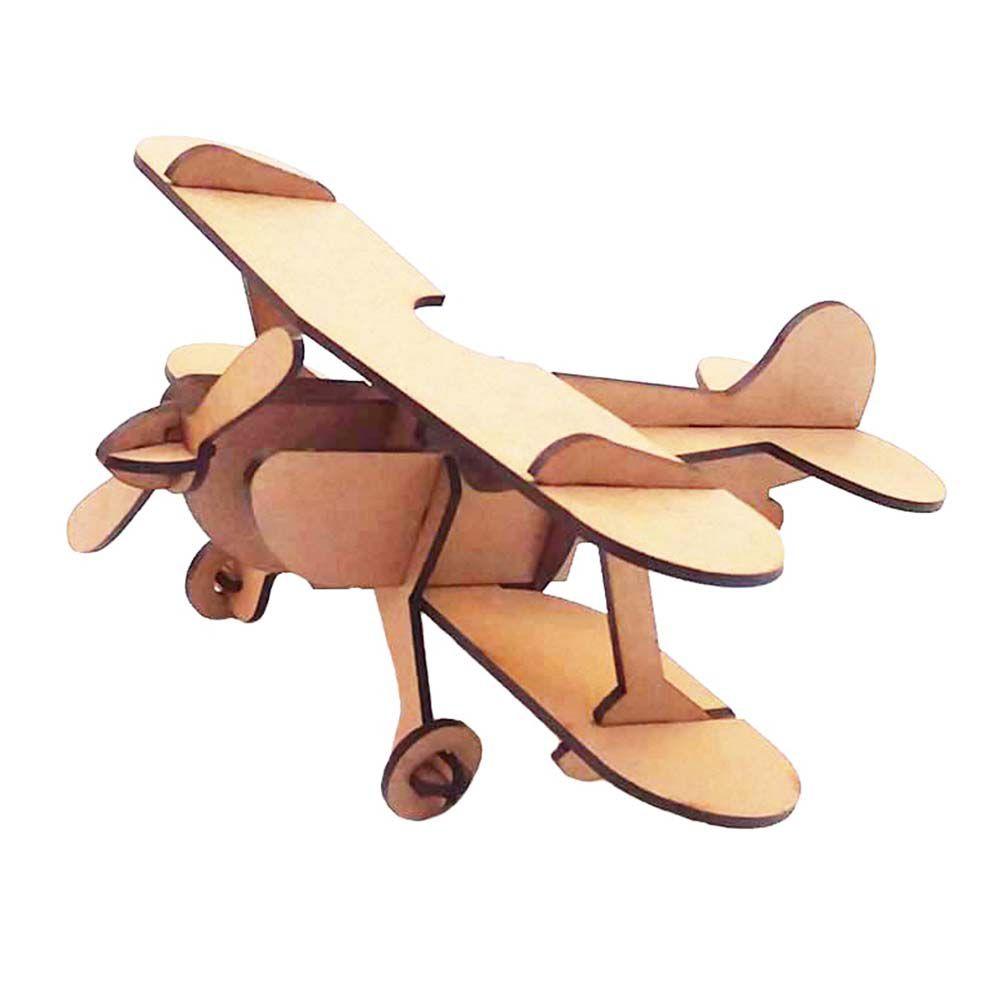 Avião Biplano 23 cm Quebra Cabeça 3D mdf
