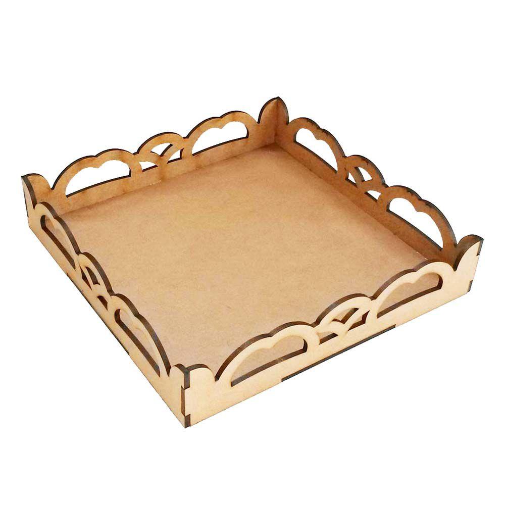 Bandeja mdf 20 cm Provençal ondas enfeite mesa kit festa