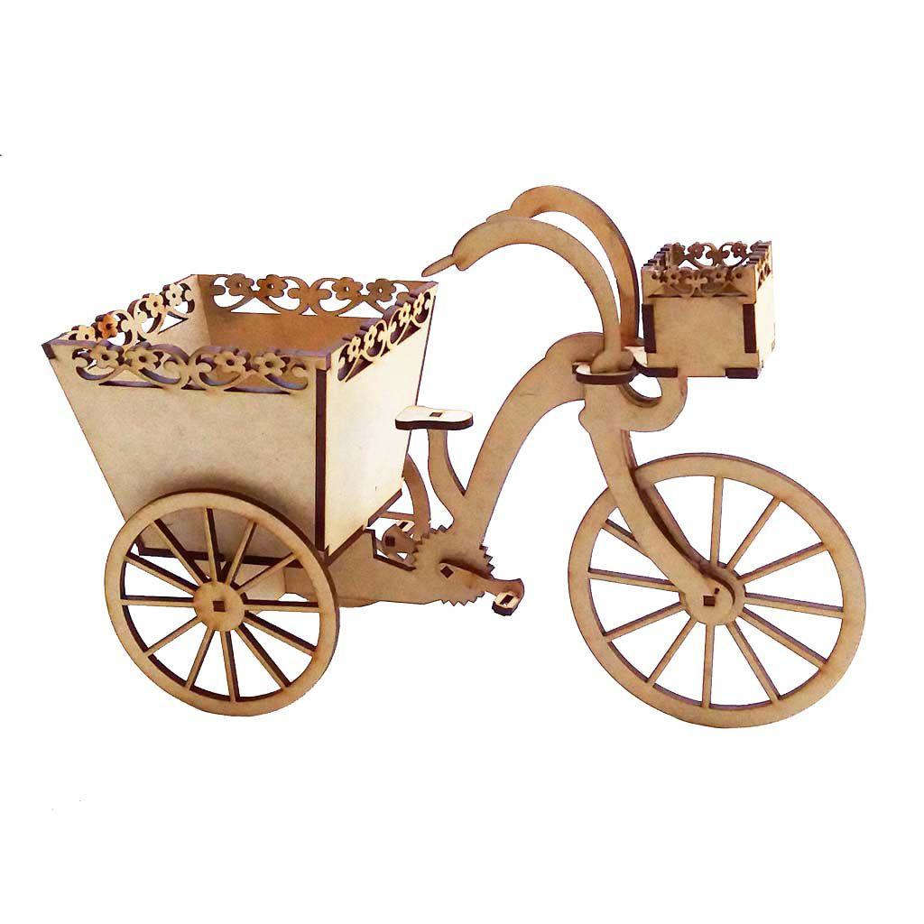 Bicicleta cachepot 24cm mdf decoração arte festa jardim