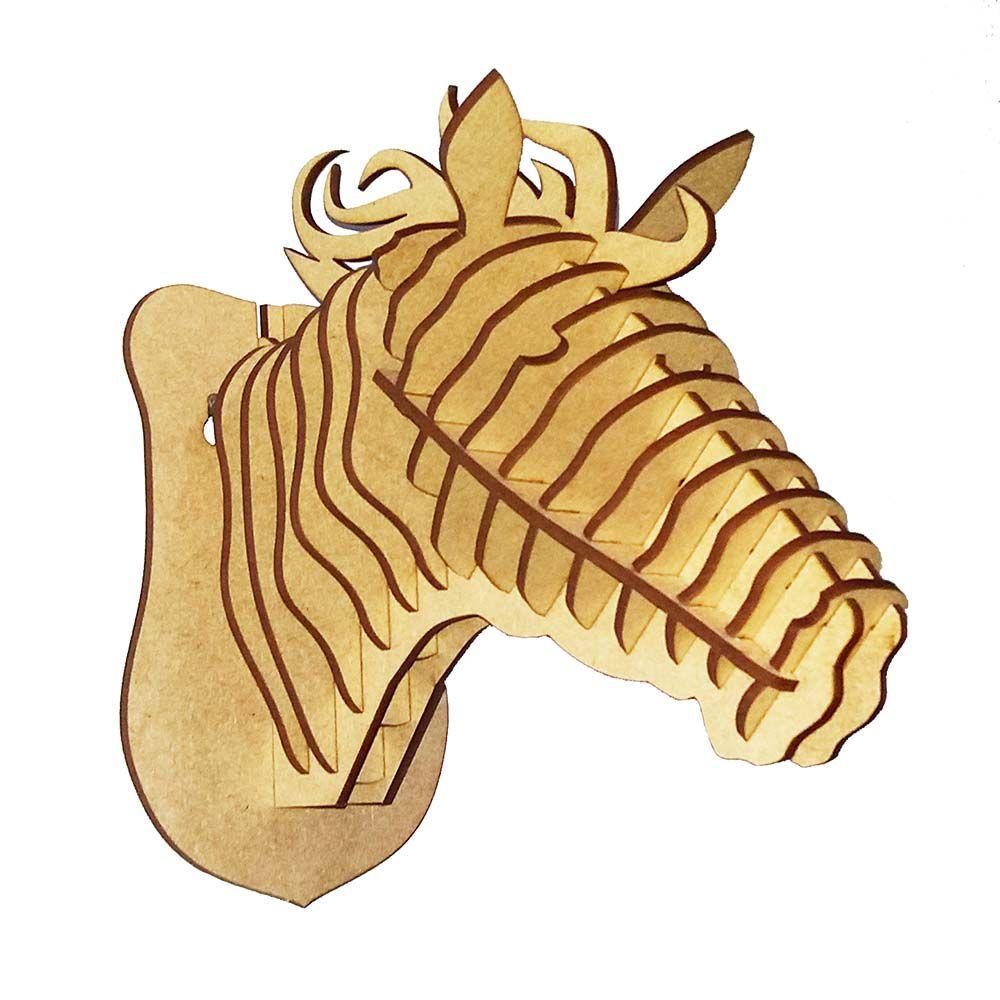 Cabeça cavalo P quebra cabeça 3d mdf decoração parede