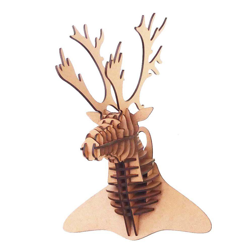 Cabeça de Veado Alce P Quebra Cabeça 3D mdf decoração