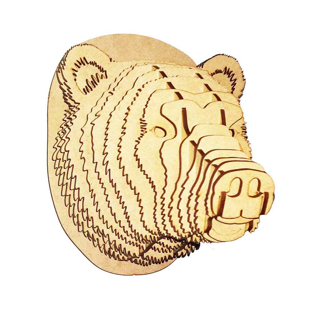 Cabeça urso P quebra cabeça 3d mdf decoração parede