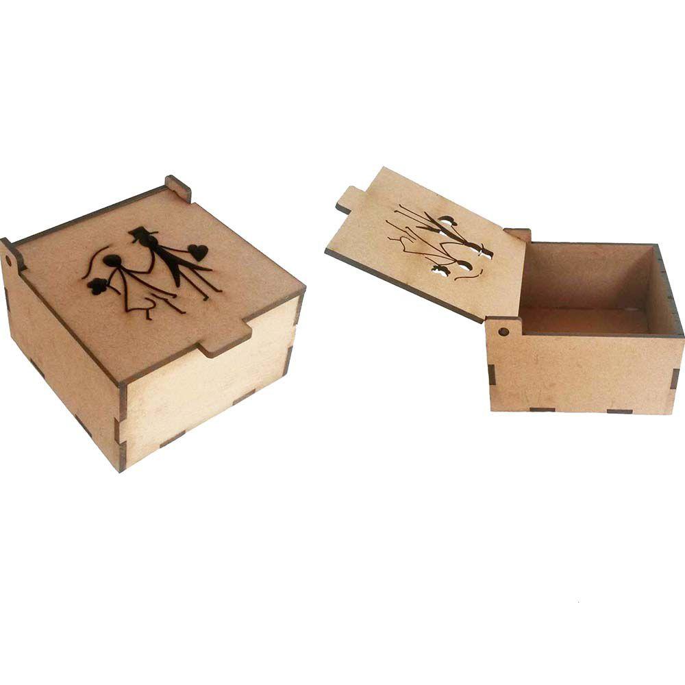Caixa baú mdf 10x10x6 noivinho 1 vazado tampa articulada